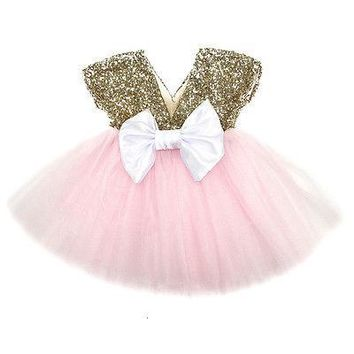 Toddler Baby Girls Clothes Summer Sleeveless Dress Flower V Neck Sequins Princess Wedding Party Pageant Fancy TUTU Dress