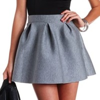 Pleated Neoprene Skater Skirt by Charlotte Russe - Gray