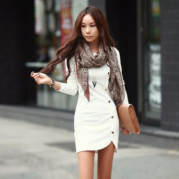 Long Sleeve Mini Dress with Button Details