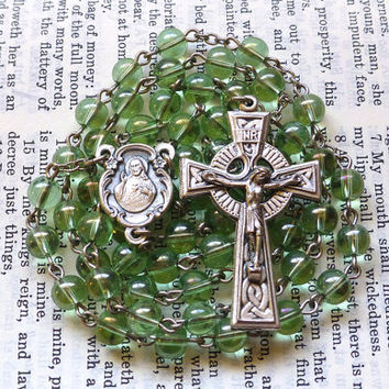 Sacred Heart Rosary - Scapular, Celtic Rosary, Green Glass Beads