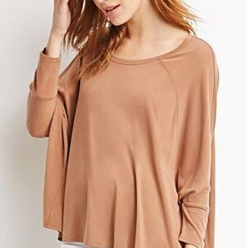 Camel Loose 3/4 Sleeve T-Shirt