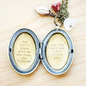 """Phantom of the Opera - Broadway Jewelry - Quote Locket - Womens Locket - """"All I ask of you"""""""