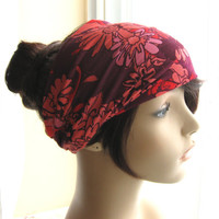 Hair Turban Head Wrap, Women's Yoga Wrap, Spring Turband; in Purple, Red, Coral, and Pink Big Floral Print