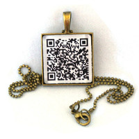 10% SALE - Custom Personalized QR Code Pendant Necklace - Personalized Url Web Address Cell Number sms or Message