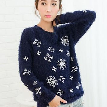 Navy Blue Snowflake Embroidery Mohair Pullover Sweater