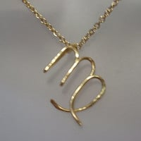 Gold Brass Virgo Zodiac Sign Necklace