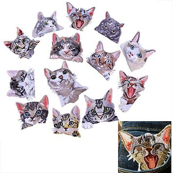 Prajna Pocket Cat Patch High Quality Lifelike 3D Embroidery Patches Clothes Fabric Stickers Iron On Cute Cat Applique For Jeans