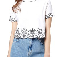Topshop Embroidered Crop Tee | Nordstrom