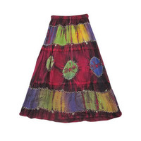 Mogulinterior Maroon Ethnic Skirt Stonewashed Long Hippie Gypsy Skirts