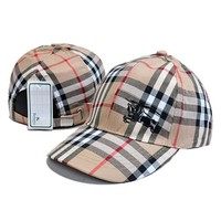 Day-First™ Burberry Fashion Embroidery Adjustable Travel Hat Sport Cap