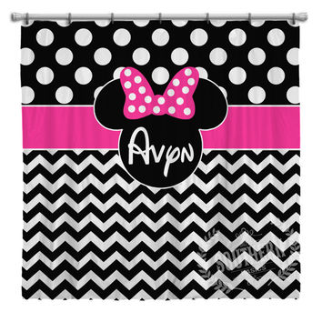 Personalized Girl Mouse Ears with Bow Shower Curtain