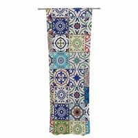 """Susan Sanders """"Eclectic Boho Colorful Tile"""" Blue Teal Photography Decorative Sheer Curtain"""