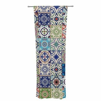 "Susan Sanders ""Eclectic Boho Colorful Tile"" Blue Teal Photography Decorative Sheer Curtain"