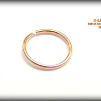 Tiny Nose Ring/Hoop 14K Yellow Gold Filled/silver endless nose hoop  Piercing/Nose/Septum/Tragus/Helix/Lip/Cartilage.