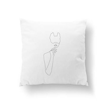 Woman In Mask, Woman Figure Pillow, Minimal Art, Bed Pillow, Abstract Woman Body, Home Decor, Black And White, Cushion Cover, Throw Pillow