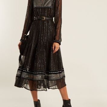 Karla embroidered tulle-trimmed chiffon dress   Dodo Bar Or   MATCHESFASHION.COM US