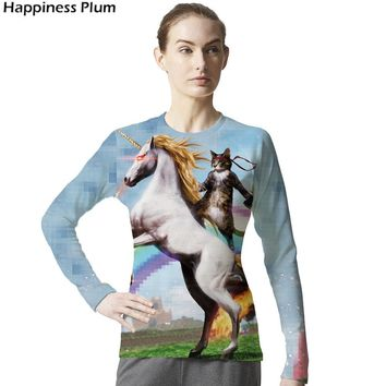 Unicorn Shirt Cat T-shirt Women Long Sleeve Brand Clothing Gun Rainbow Horse 3d Print Tshirt Funny Anime Animal T Shirt Top Tee
