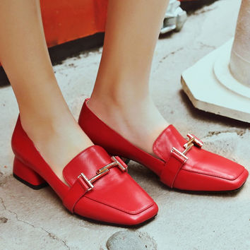 Square Toe Block Heel Metal Embellished Loafers