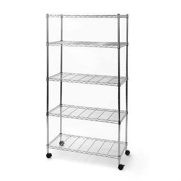 5-Shelf Storage Shelving Unit with Removable Locking Casters Wheels