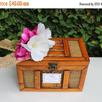 ON SALE Wedding Card Box / Wooden Wishing Well Box / Rustic Wedding Wooden Box / Vintage Box