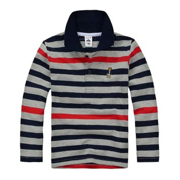 Top quality kids boy polo shirts school uniform shirt   boys t shirt  long sleeve cotton clothes for 7 8 9 10 11 12 13 14 years