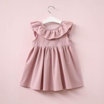 Girl dress Toddler Infant Kids Baby Girl Ruffled Dress Clothes Backless Solid Casual Dress vestidos drop shipping