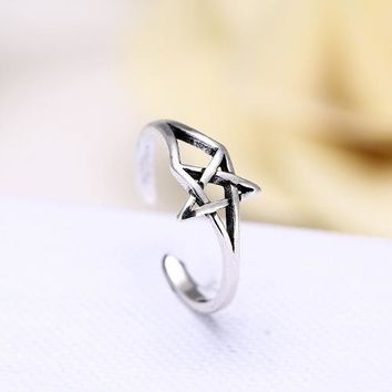 Retro 925 Sterling Silver David Star Rings for Women Adjustable Free Size Wedding Ring Fashion sterling-silver-jewelry