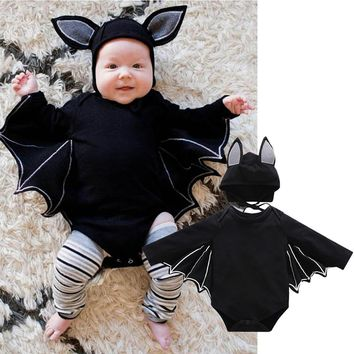 Baby Girl Boy Cloth Sets Halloween Cosplay Balck Bat Tops Costume Bat Design Long-sleeve Rompers Hat Baby Unisex Bat COS san0