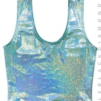 Mint Hologram Crop Tank