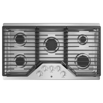 GE 36 in. Built-In Gas Cooktop in Stainless Steel with 5 Burners including Power Boil Burner-JGP5036SLSS - The Home Depot