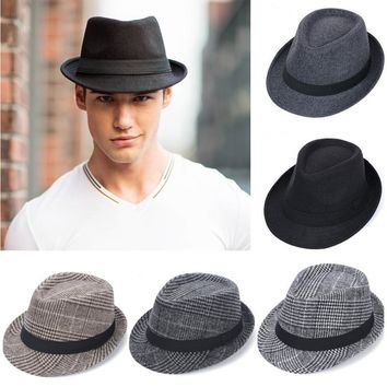 New Brand Wool Men's Black Fedora Hat For Gentleman Woolen Wide Brim Jazz Church Cap Vintage Panama Sun Top Hat