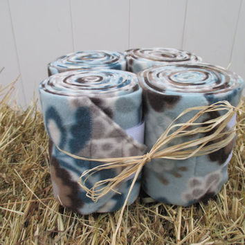 Set of 4 Polo Wraps for Horses- Blue and Brown Floral Print Fleece