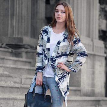 Cardigan Stylish Irregular Long Sleeve Needles Jacket [8999111300]