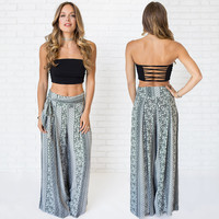 Practical Wide Leg Print Pants