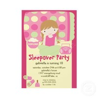 Sleepover Birthday Party Inviation Custom Invites from Zazzle.com