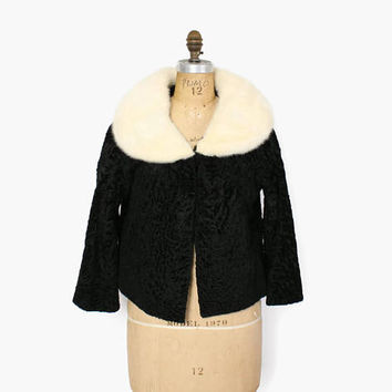 Vintage 50s MINK Collar Jacket / 1950s Cropped Black Faux Persian Lamb & Genuine White Blonde Mink Collared Coat