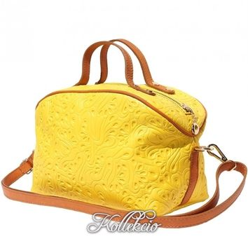 Yellow Genuine Italian Leather MakeUp Bag with Long Strap
