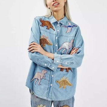 Street Cartoon Dinosaur Pattern  Sequined Patch Designs Denim Blouse Turn-down Collar Long Sleeve Women Casual Shirt Tops femme