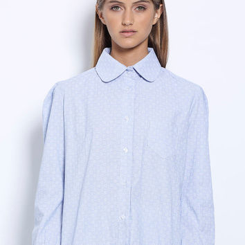 Womens blouse, Long sleeve shirt , Winter top, Pastel blue blouse, Women shirt, Peter pan collar, Button down shirt, Elegant top