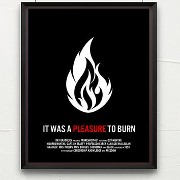 Literature poster, Fahrenheit 451, book art, classic literature, minimalist, contemporary art