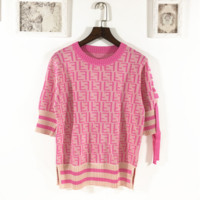 Fendi Fashion new sleeve bow tie more letter short sleeve t-shirt top Pink