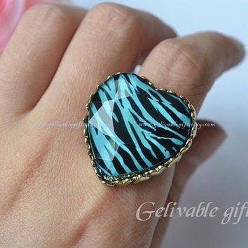 Heart ring,love heart shape ring,zebra stripes ring RZS01