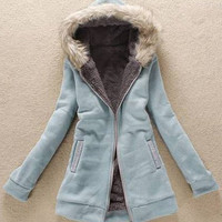 Zippered Rhinestone Pockets Fur Collar Hoodies