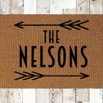 Custom Last Name Coir Doormat, Decorative Area Rug, Hand Painted Hand Woven, Housewarming Gift