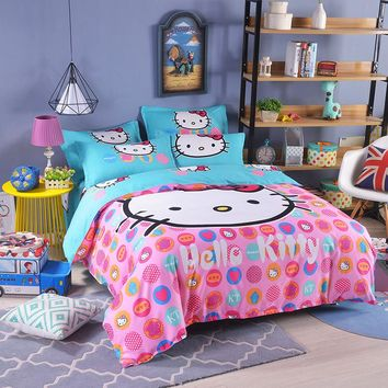 UNIKEA Cartoon Bedding Set for Child Girls Printed Duvet Cover Flat Sheet with Pillowcases Stars kt008