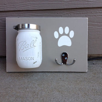Dog Leash Treat Holder, Distressed, Wood Wall Mount, Barnwood, You Choose Mason Jar Color