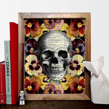 Skull With Flower Motif Vintage Illustration, Eco Friendly Home, Kitchen, Bathroom, Nursery Decor, Dictionary Book Print Buy 2 Get 1 FREE
