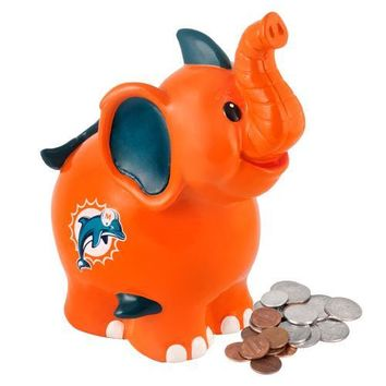 Miami Dolphins NFL Thematic Elephant Coin Bank