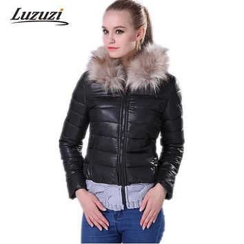 Women Winter Coat and Jacket Hooded Cotton Fashion Knitted Patchwork Padded Fur Collar Outwear Wadded Jackets and Coats WS005