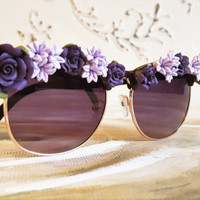 Retro Sunglasses, Festival Sunglasses, Floral Sunglasses, Festival Accessories, Embellished Sunglasses, Purple Flowers, Purple Sunglasses